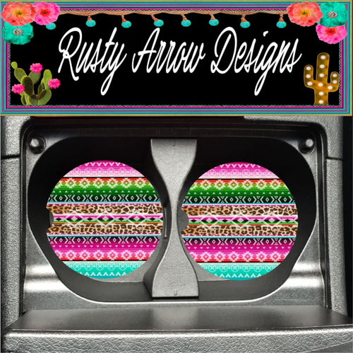 Neon Serape Set of 2 Car Coasters - Car Coasters