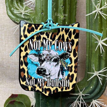 Hanging with my Heifers Rear View Mirror Charm, Bag Tag, or Christmas Ornament