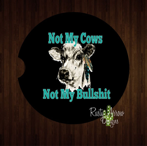Not My Cows Set of 2 Car Coasters - Car Coasters