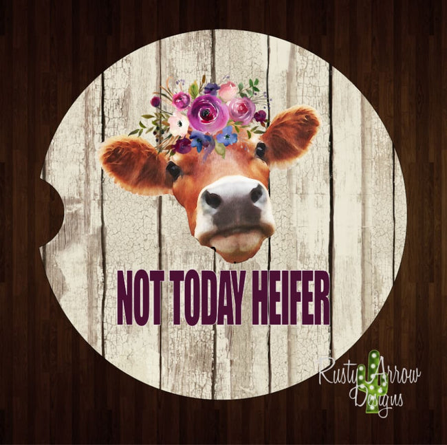 Not Today Heifer Barnwood Set of 2 Car Coasters - Car Coasters