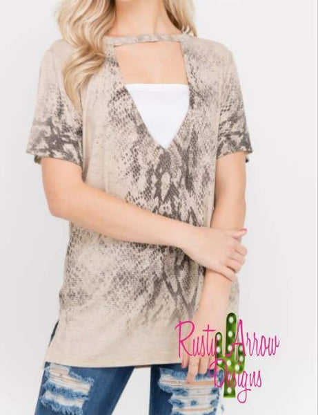 Oatmeal Snake Print Choker Neck Top - Tee Shirt