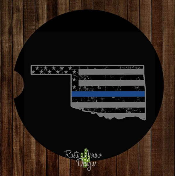 Oklahoma Thin Blue Line Set of 2 Car Coasters - Car Coasters