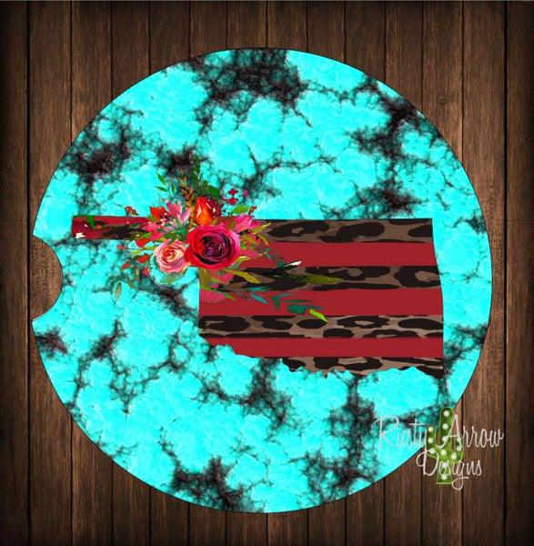 Oklahoma Turquoise Red and Cheetah Set of 2 Car Coasters - Car Coasters