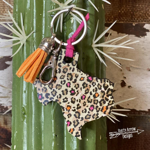 Orange and Pink Cheetah Texas Key Chain