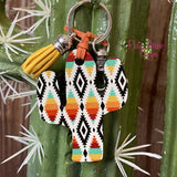 Orange and Turquoise Aztec Cactus Key Chain