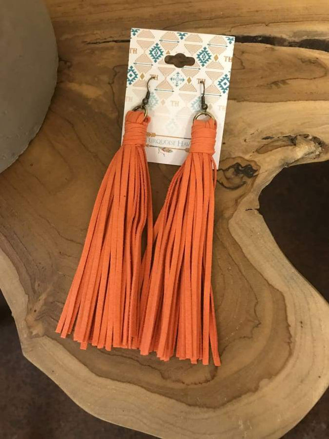 Orange Leather Fringe Earrings
