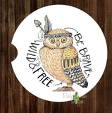 Owl Be Brave Wild Set of 2 Car Coasters - Car Coasters