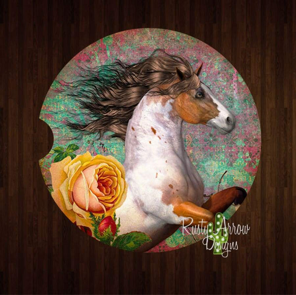 Paint Horses and Yellow Rose Set of 2 Car Coasters - Car Coasters