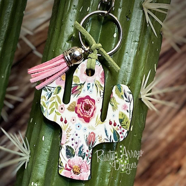 Pink and Green Boho Flowers Cactus Key Chain