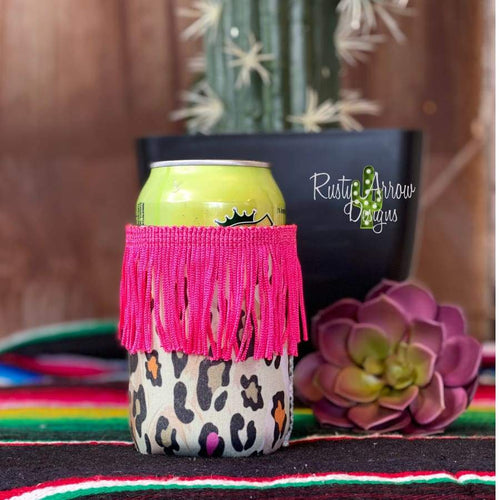 Pink and Orange Cheetah Fringe Reg 12oz or Can Slim Koozie - Regular - Koozie