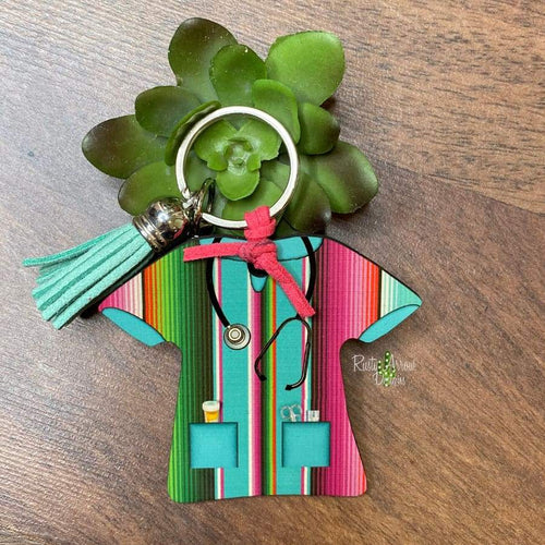 Pink and Turquoise Serape Nurse Scrub Key chain
