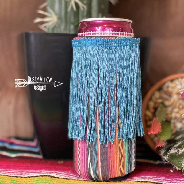 Pink Serape Fringe Bottle or Can Slim Koozie - Koozie