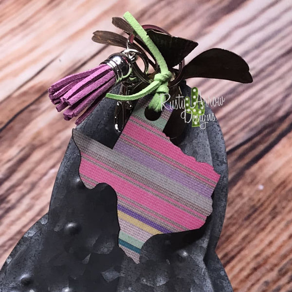 Pink Serape Texas Key Chain