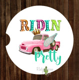 Pink Truck Ridin Pretty Set of 2 Car Coasters - Car Coasters