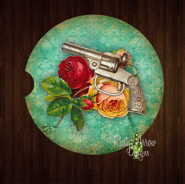 Pistol and Roses Set of 2 Car Coasters - Car Coasters