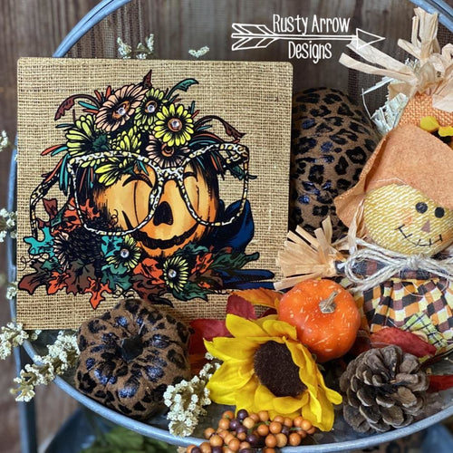 Pumpkin with Cheetah Glasses Tiered Tray Sign/ Picture
