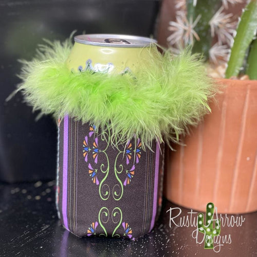 Purple Days Lime Green Feather Boa 12oz Neoprene Koozie - Koozie