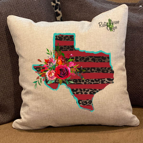 Red and Turquoise Cheetah Texas Pillow Cover - Pillow