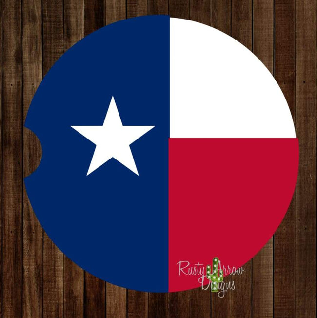 Red White and Blue Texas Set of 2 Car Coasters - Car Coasters