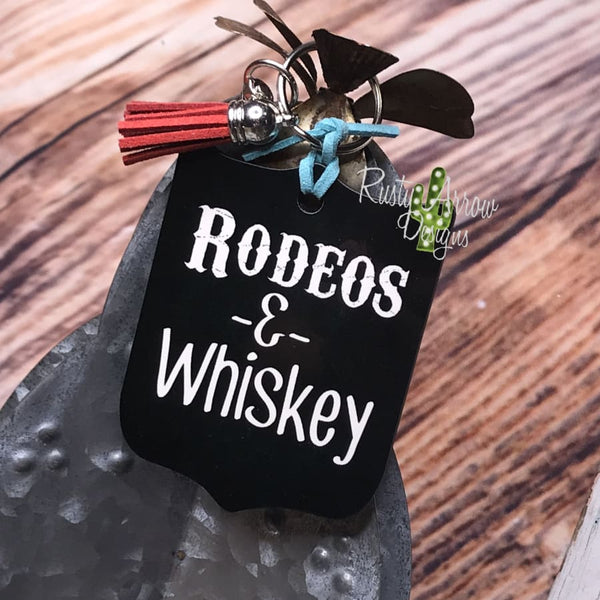 Rodeo and Whiskey Rodeo Back Tag Key Chain