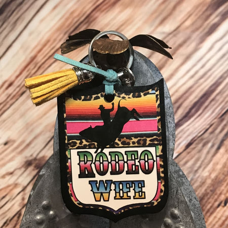 Western Motel Rodeo Back Tag Key Chain