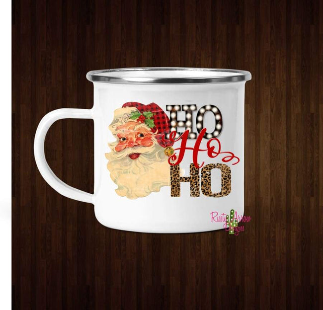 Santa Buffalo Plaid and Cheetah Ho Ho Ho Coffee Mug - 11 oz. Camp Cup Mug Stainless Steel - Mug