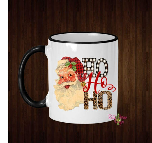 Santa Buffalo Plaid and Cheetah Ho Ho Ho Coffee Mug - 11 Oz Ceramic mug with black handle - Mug