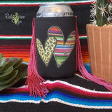 Serape and Cheetah Heart Fringe Trim 12 oz Koozie - Koozie