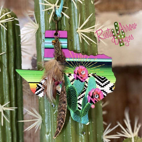 Serape Aztec with Cactus Texas Rear view mirror charm Rear view mirror accessories Rear view mirror accessory rear view mirror ornament