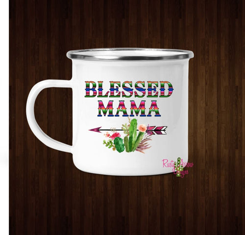 Serape Blessed Mama Coffee Mug - 11 oz. Camp Cup Mug Stainless Steel - Mug