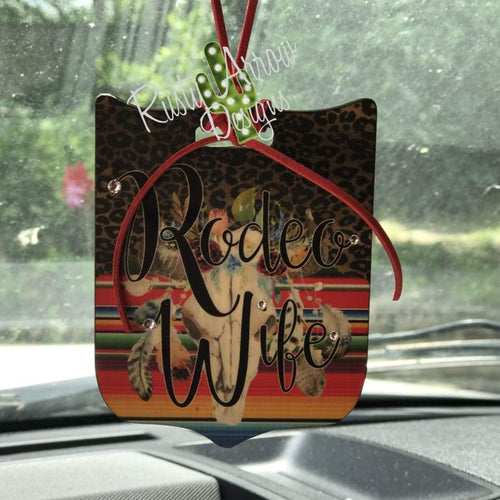 Serape Bull Skull Rodeo Wife Rear View Mirror Charm Bag Tag or Christmas Ornament
