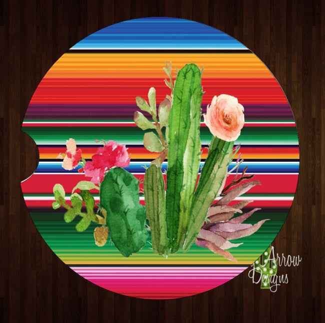 Serape Cactus Plants Set of 2 Car Coasters - Car Coasters