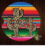 Serape Cheetah Cactus Set of 2 Car Coasters - Car Coasters