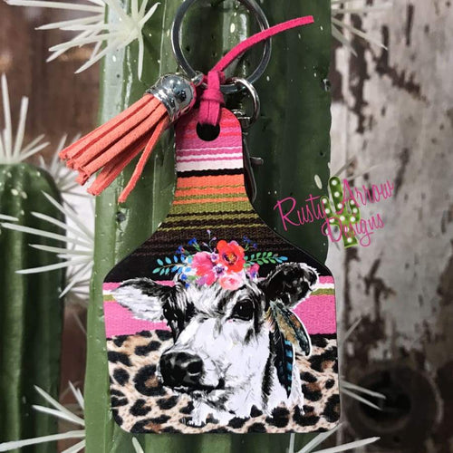 Serape Cow Livestock Ear Tag Key chain