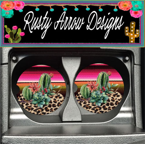 Serape Desert Set of 2 Car Coasters - Car Coasters