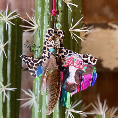 Serape Floral Cow Texas Rear view mirror charm Rear view mirror accessories Rear view mirror accessory rear view mirror ornament