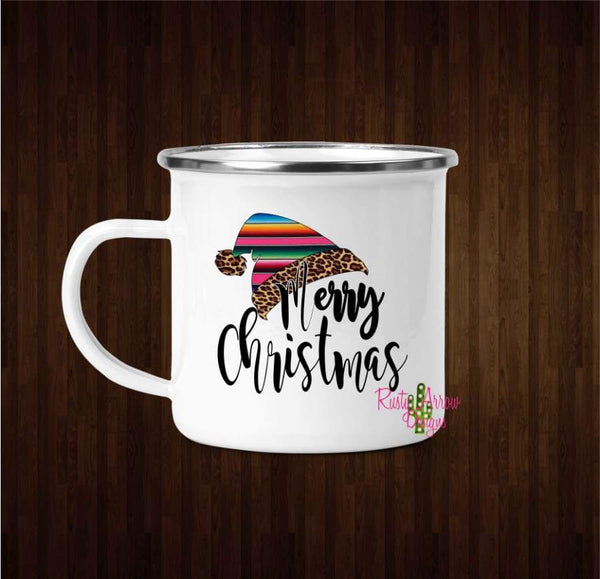 Serape Santa Hat Coffee Mug - 11 oz. Camp Cup Mug Stainless Steel - Mug