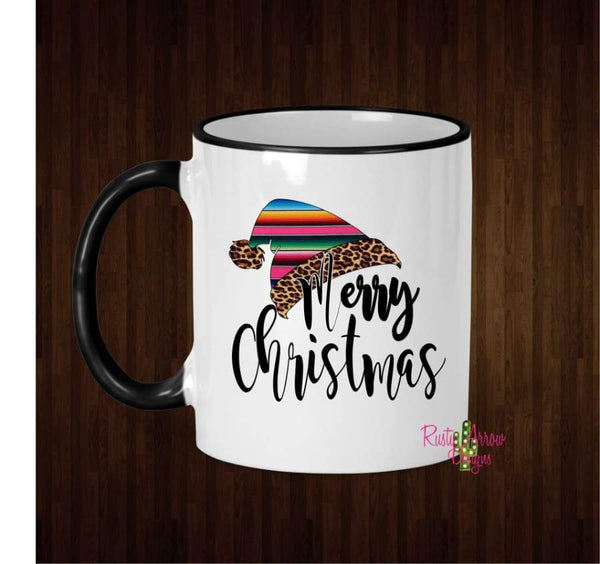 Serape Santa Hat Coffee Mug - 11 Oz Ceramic mug with black handle - Mug