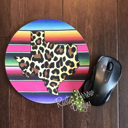 Serape w Cheetah Texas 8 Neoprene Round Mouse Pad - Mouse Pad