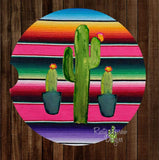 Serape with Cactus Set of 2 Car Coasters - Car Coasters