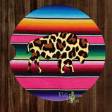 Serape with Cheetah print Buffalo Set of 2 Car Coasters - Car Coasters