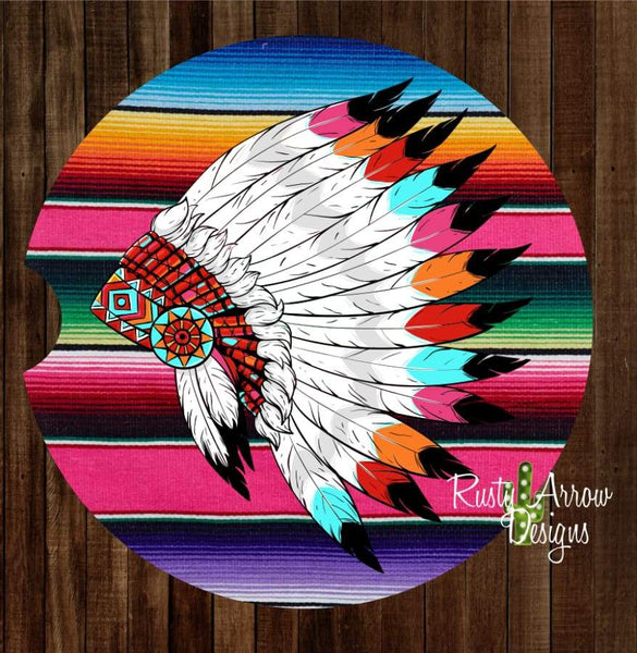 Serape with Headdress Set of 2 Car Coasters - Car Coasters
