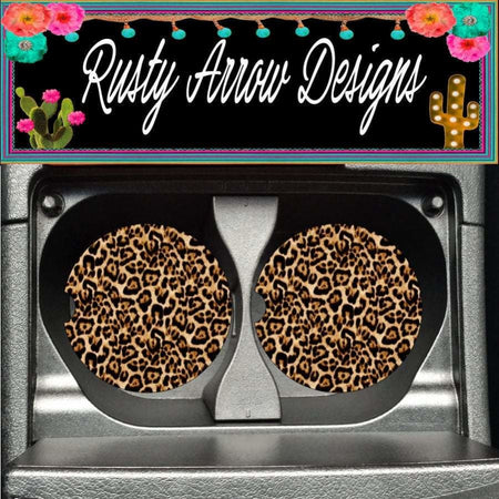 Sunflower with Cheetah Center Set of 2 Car Coasters