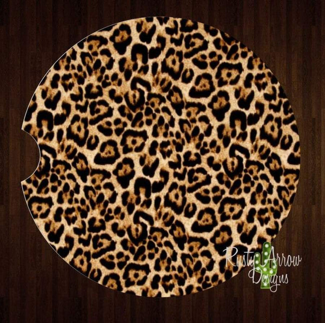 Set Of 2 Car Coasters Cheetah Print Sandstone Car Coasters Rubber Car Coasters Cork Car Coasters Car Decor Car Accessories - Car Coasters