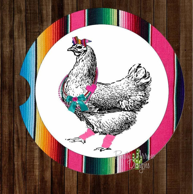 Set Of 2 Car Coasters Funky Serape Chicken Sandstone Car Coasters Rubber Car Coasters Cork Car Coasters Car Decor Car Accessories - Car