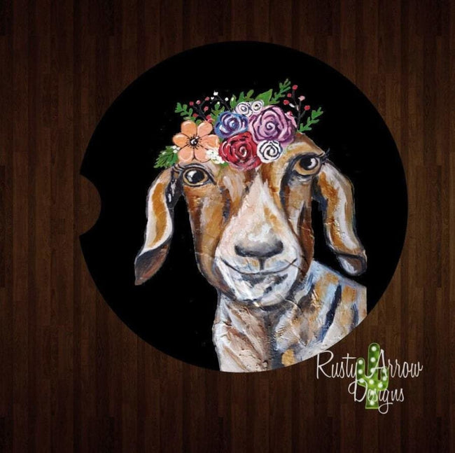 Set Of 2 Car Coasters Goat with Flowers Sandstone Car Coasters Rubber Car Coasters Cork Car Coasters Car Decor Car Accessories - Car