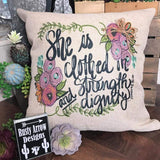 She is clothed in Strength and Dignity Decorative Throw Pillow - Pillow