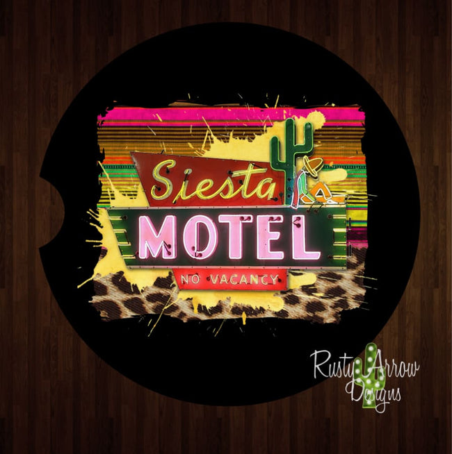 Siesta Motel Background Set of 2 Car Coasters - Car Coasters