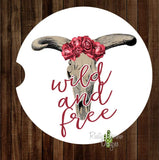 Skull with Red Roses Wild and Free Set of 2 Car Coasters - Car Coasters