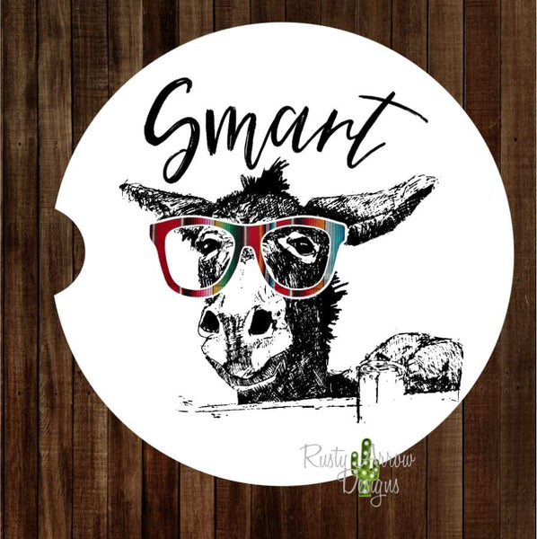 Smart A** with Black Letters Set of 2 Car Coasters - Car Coasters